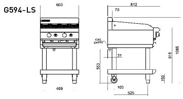 Blue Seal G594-LS Chargrill 600mm