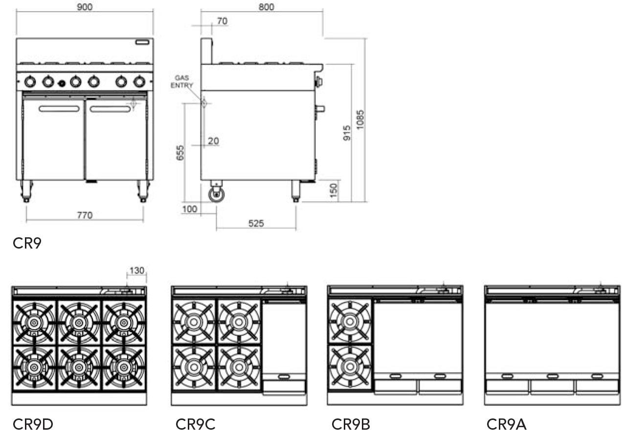 Cobra CR9D Oven Range Static 6 Burner