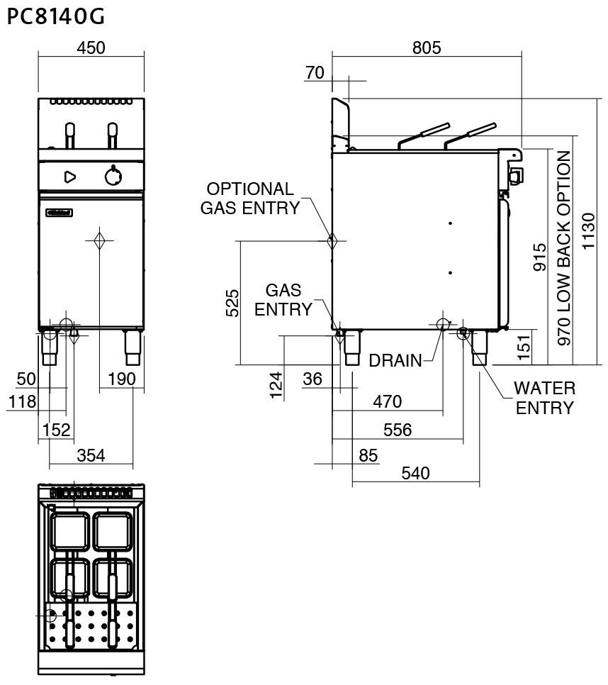 Waldorf 800 Series PC8140G Pasta Cooker 450mm Nat Gas
