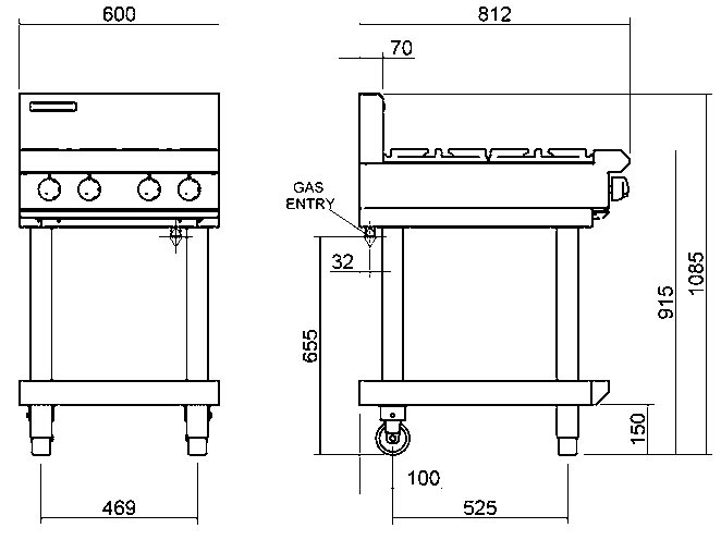 Blue Seal G514D-LS Cooktop 4 Burner With Leg Stand Nat Gas