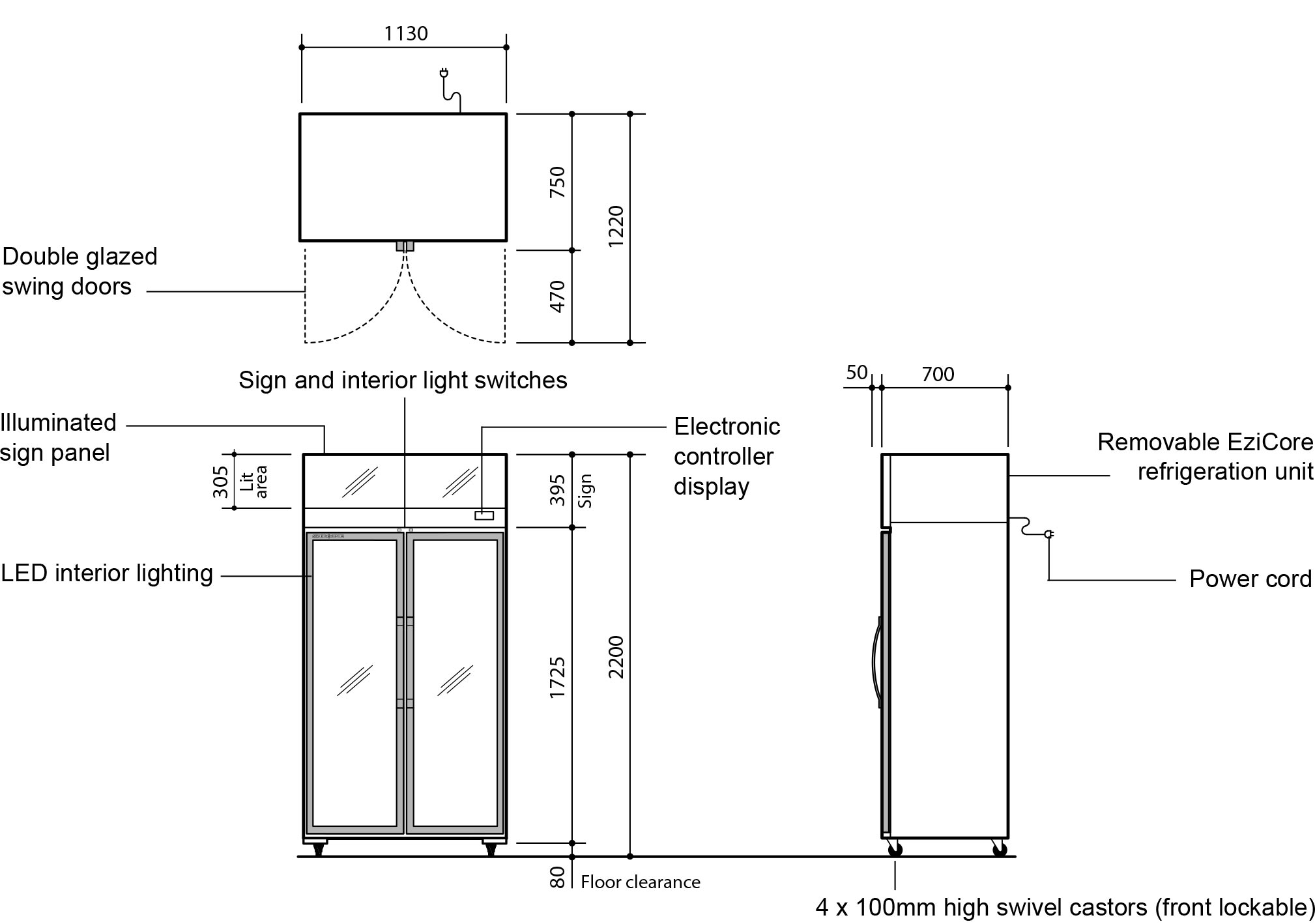 Skope TCE1000 Fridge Upright Integral White 2 Glass Doors