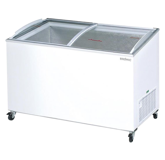 Bromic CF0500ATCG Chest Freezer Curved Glass Top 427ltr