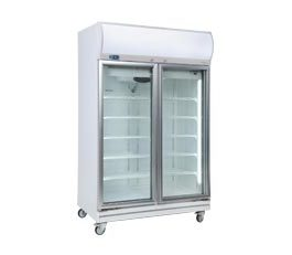 Bromic GD1000LF Upright Fridge Fan Forced 2 Glass Doors White