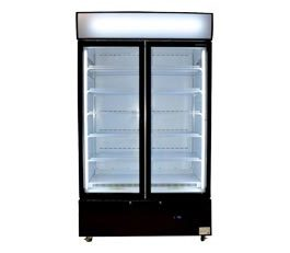 Bromic GM1000LCASB Upright Cassette Fridge 2 Glass Doors Black