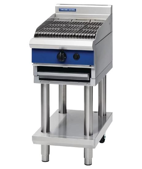 Blue Seal G593-LS Chargrill 450mm With Leg Stand Nat Gas